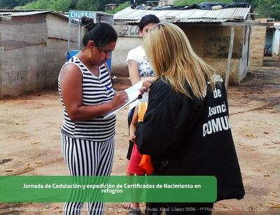 Realizarán registro civil y cedulación de niños en refugios