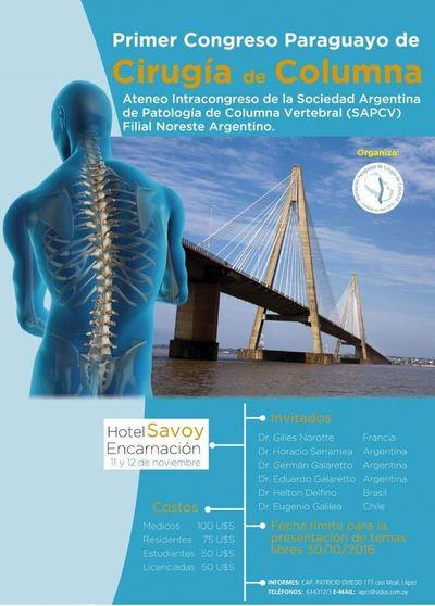 Primer congreso de cirugía de columna se hará en noviembre en Encarnación