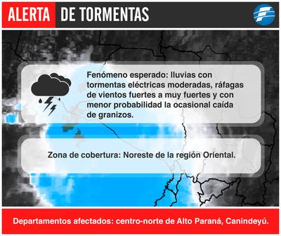 Emiten alerta de tormentas para Alto Paraná y Canindeyú