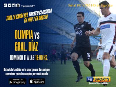 Olimpia recibe en Para Uno a Gral. Díaz