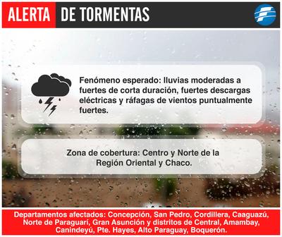 Anuncian tormentas para 11 departamentos