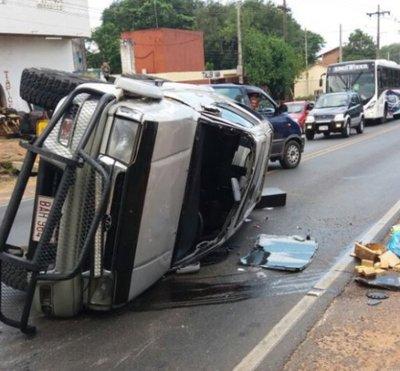 Triple choque sin víctimas fatales en Luque