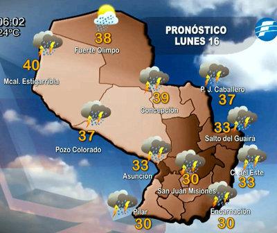 Lunes cálido a caluroso con precipitaciones
