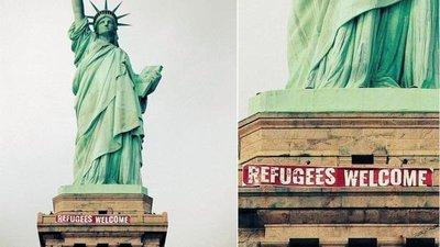 Bienvenidos Refugiados en la Estatua de la Libertad