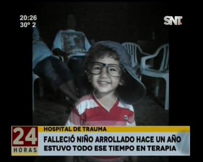 Niño arrollado en Villa Elisa falleció tras un año de agonía