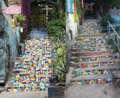 Obra de arte de la escalinata de Loma San Jerónimo fue removida