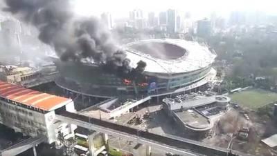 Tremendo incendio en un estadio del fútbol chino