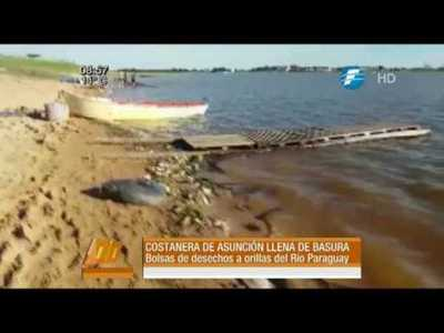 Costanera de Asunción llena de basuras