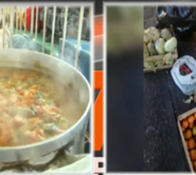 Dan de comer a niños en karu guasu con alimentos recuperados en Abasto