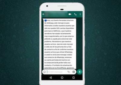 "Cadena falsa vía WhatsApp: alertan sobre riesgo de ""phishing"""