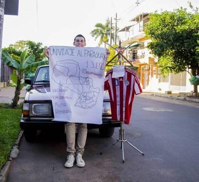 Joven busca recorrer a pie todo el Paraguay