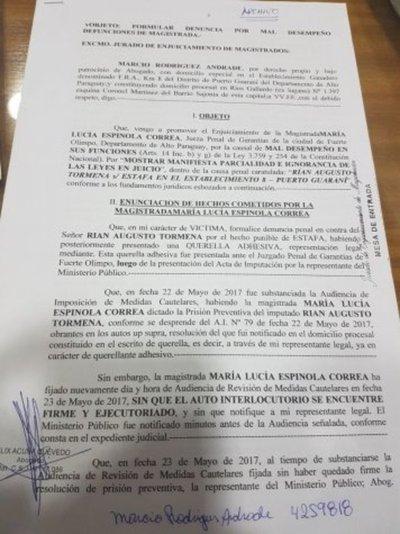 Denuncia contra cuestionada jueza de Fuerte Olimpo
