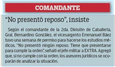 Militar castigado por selfie alega que no respetan su reposo médico