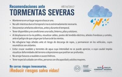 SEN REITERA RECOMENDACIONES ANTE PROBABILIDAD DE TIEMPO SEVERO
