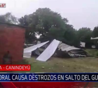 Severo temporal causó destrozos en Salto del Guairá