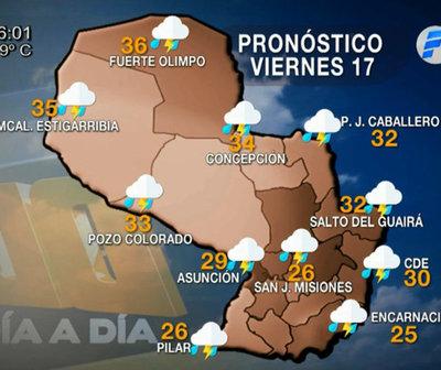 Viernes con precipitaciones con tormentas eléctricas