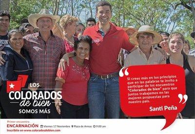 """Santi Peña convoca a """"colorados de bien"""""""