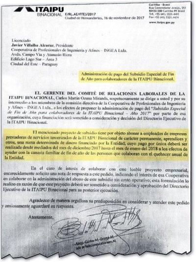 "Itaipú tiene previsto pagar aguinaldo hasta a empleados ""colaboradores"""