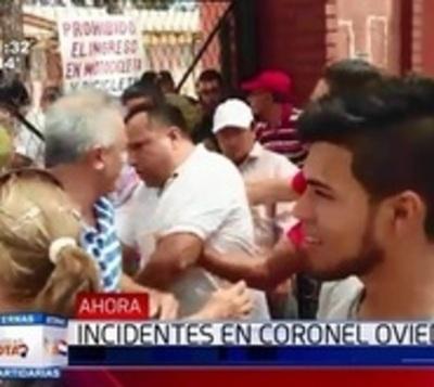Gritos y empujones entre colorados en Coronel Oviedo