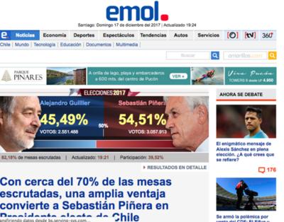 Piñera lidera escrutinio de balotaje presidencial en Chile