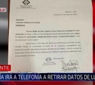 31M: Fiscal irá hasta empresa telefónica a retirar datos de llamadas