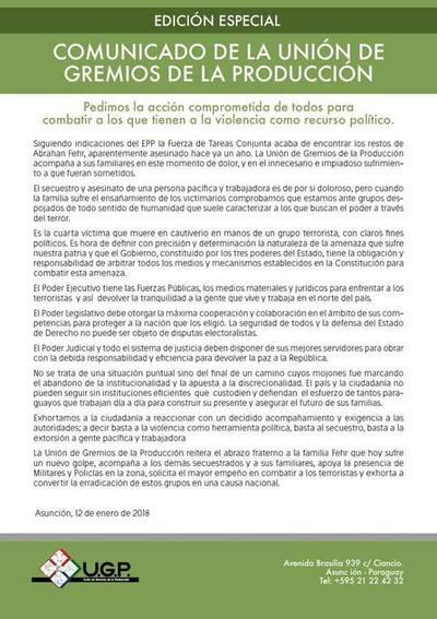 En comunicado la UGP solicita mayor empeño en combate al EPP