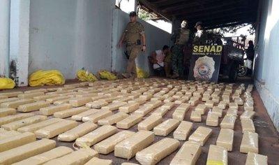 Hallan 193 kilos de marihuana en una vivienda de Pedro Juan