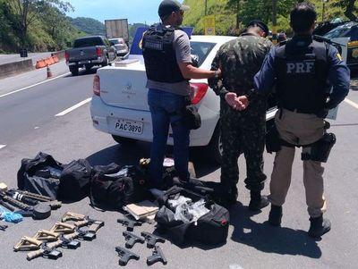Militar de Foz de Yguazú detenido con arsenal y droga