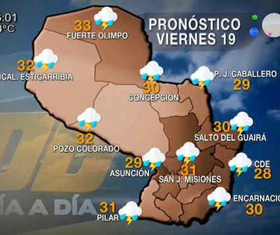 Viernes con precipitaciones y tormentas eléctricas