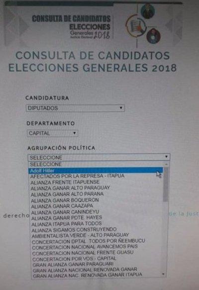 """Hitler aparece como """"candidato"""" en web de TSJE"""