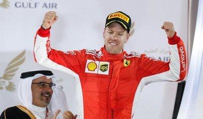 Vettel refuerza su liderato al ganar en Barein