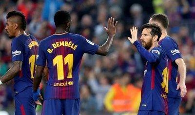 El Barcelona, con un gran Dembélé, resuelve en la primera mitad