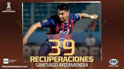 Arzamendia, el mejor recuperador de la Libertadores