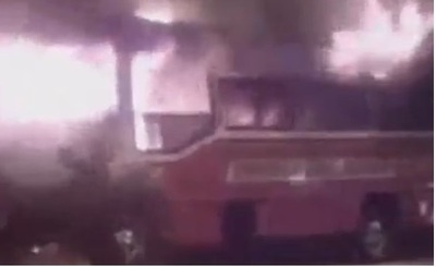 Ómnibus se incendia en Luque
