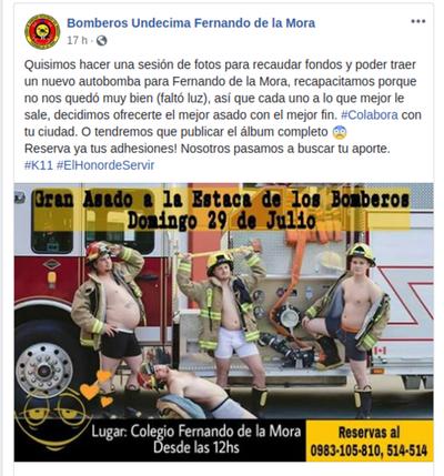 """Bomberos hacen simpática campaña: Adhesiones o fotos """"hot"""""""