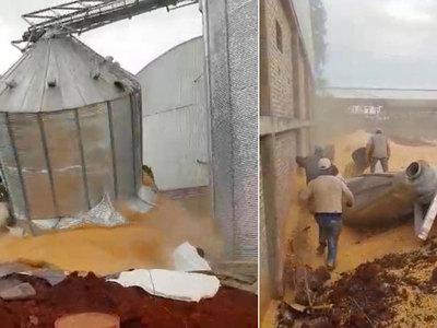 Varios obreros se salvan de ser aplastados por toneladas de soja