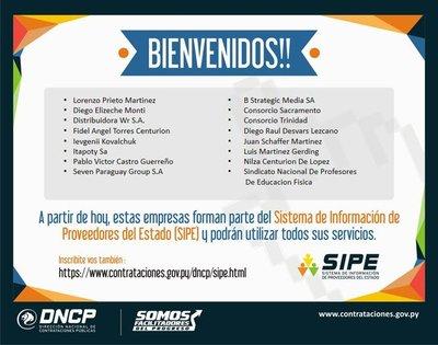 Más empresas se inscriben en el SIPE de Contrataciones Públicas