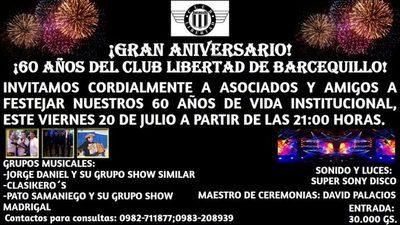 Club Libertad de Barcequillo: Celebrará 60 años de vida institucional