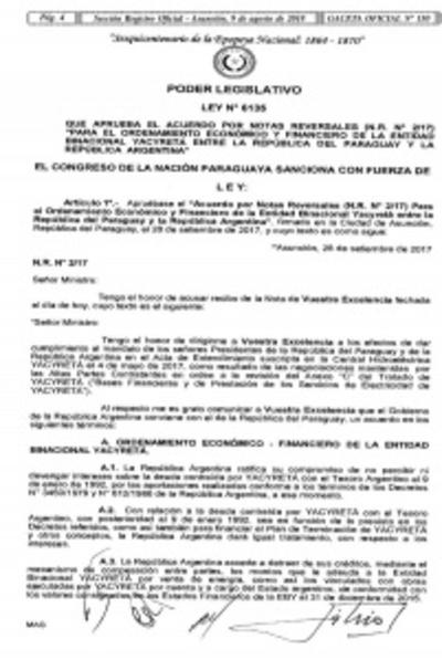 Ejecutivo promulga Notas Reversales de Yacyretá