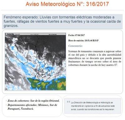 Alerta de tormentas para el sur del país