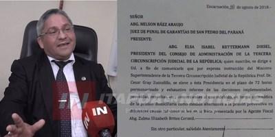 MINISTRO INTIMA A JUEZ NELSON BÁEZ A PRESENTAR INFORMES POR SUPUESTA IRREGULARIDADES.