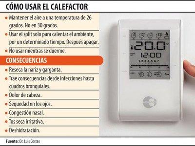 Uso excesivo  del calefactor genera   cuadros respiratorios