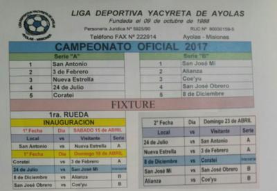 Hoy se inaugura el campeonato de la Liga Yacyretá de Ayolas