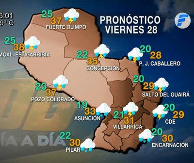 Viernes cálido a caluroso con precipitaciones dispersas