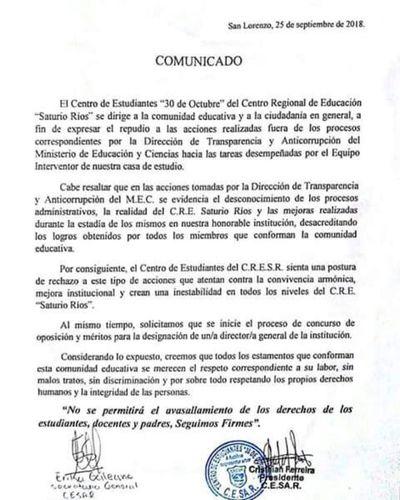 CRESR: Estudiantes piden concurso para nombrar director/a general