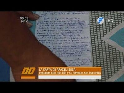 La carta de Araceli Sosa, con prisión preventiva por el quíntuple asesinato