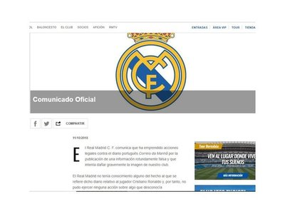 Real Madrid demanda a un diario portugués