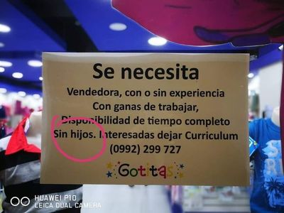 Discriminación: Tienda de ropa busca vendedoras sin hijos