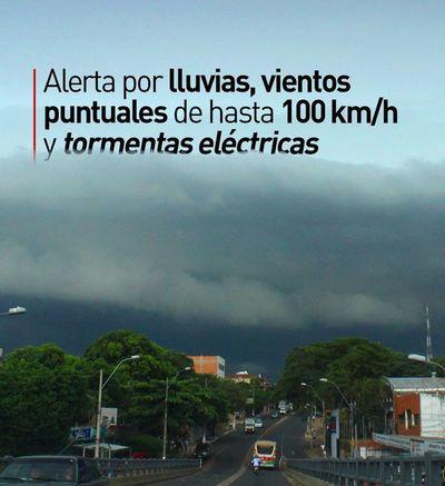 Alerta por lluvias, vientos puntuales de hasta 100 km/h y tormentas eléctricas