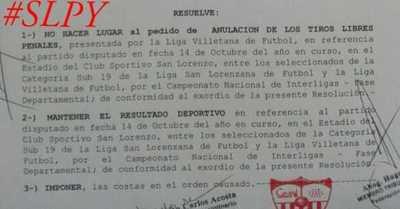 Tribunal de la Federación Central le da la razón a la Liga Sanlorenzana
